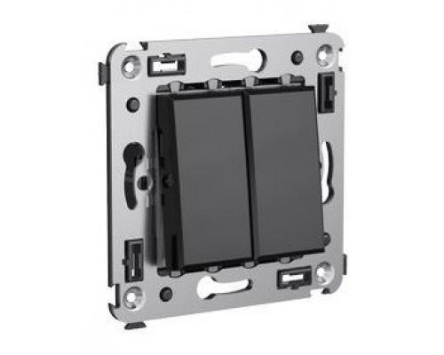 Переключатель двухклавишный в стену Avanti черный квадрат (4402114)