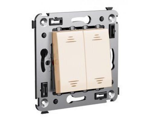 Выключатель двухклавишный в стену Avanti ванильная дымка (4405104)