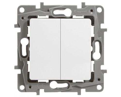 Выключатель двухклавишный 10AX-250В ETIKA, белый (672202)