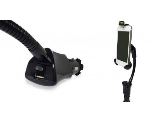 """Держатель для мобильного телефона в прикуриватель авто Human Friends на штанге, 1 USB, Mobile Comfort """"Cobra"""" Black"""