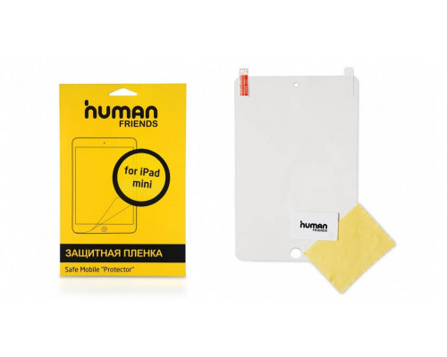 Защитная пленка для экрана iPad mini, в комплекте чистящая салфетка и пластиковая карта.