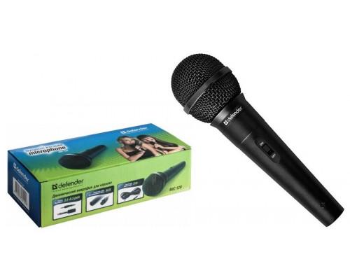 Микрофон Defender MIC-129 /динамический для караоке /адапт. 3,5 - 6,3 мм jack/ чувствительность 73 дБ /длина шнура - 5 м