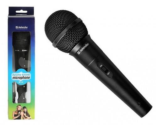 Микрофон Defender MIC-130 /динамический для караоке /адапт. 3,5 - 6,3 мм jack/ чувствительность 73 дБ /длина шнура - 5 м