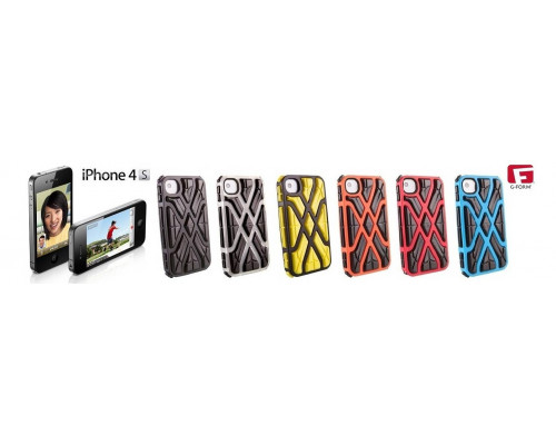 Противоударный чехол для iPhone 4S, X-Protect реактивная защита от удара и падений (RPT ?), синий/черный, G-Form.