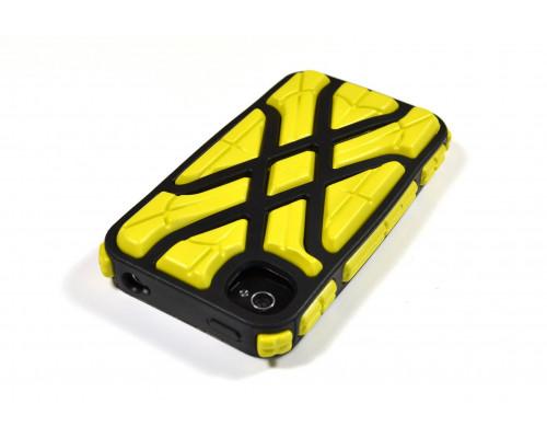 Противоударный чехол для iPhone 4S, X-Protect реактивная защита от удара и падений (RPT ?), желтый/черный, G-Form.