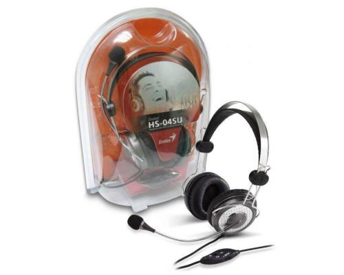 Гарнитура HS-04SU с оголовьем, подвижное крепление микрофона, разъем 3,5мм, шумоподавление, цвет серый