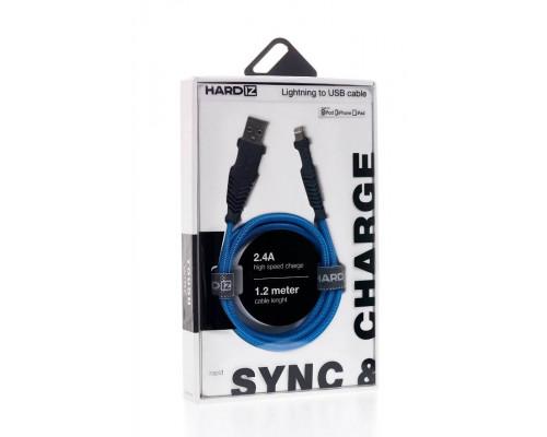 HARDIZ Кабель Lightning на USB 2.0 MFI высококачественная нейлоновая оплетка, 1,2 метра, Blue.