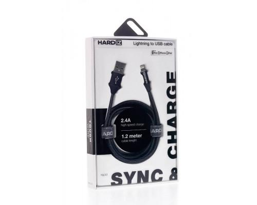 HARDIZ Кабель Lightning на USB 2.0 MFI высококачественная тетроновая оплетка, 1,2 метра, Black.