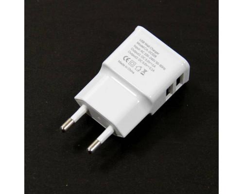 Зарядное устройство AC (EU Plug 100-220V) --> USBx2 Port (Out.: DC5V, 2,1A/1.0A) VCOM