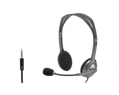 Logitech Гарнитура Stereo Headset H111, серая, длина кабеля 1,8 м, разъем 3,5 мм, микрофон с функц. шумоподавления.
