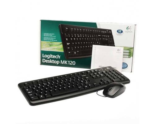 Logitech Комплект проводной клавиатура + мышь MK120, 1000 dpi, USB.