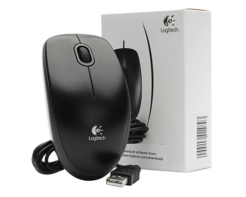 Logitech Мышь проводная Logitech B100 USB Black Optical OEM.