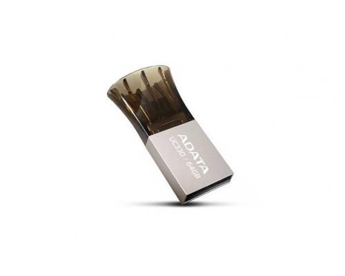 Флеш накопитель 16GB A-DATA DashDrive UC330 OTG, USB 2.0/MicroUSB, Серебро/Черный