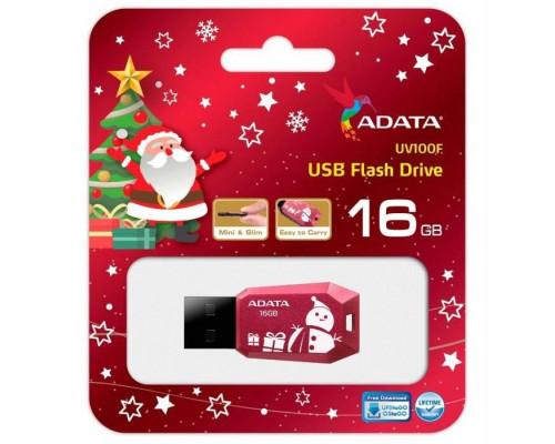 Флеш накопитель 16GB A-DATA UV100, USB 2.0, Красный Christmas