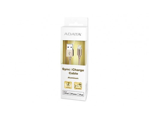 Кабель A-DATA Lightning-USB для зарядки и синхронизации iPhone, iPad, iPod (сертиф. Apple) 1м, металлический, Gold