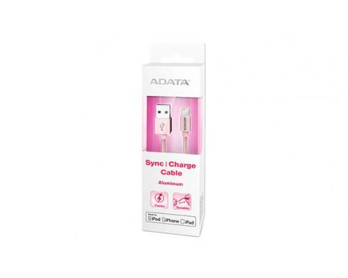 Кабель A-DATA Lightning-USB для зарядки и синхронизации iPhone, iPad, iPod (сертиф. Apple) 1м, металлический, Rose Gold