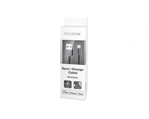Кабель A-DATA Lightning-USB для зарядки и синхронизации iPhone, iPad, iPod (сертиф. Apple) 1м, металлический, Titanium