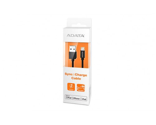 Кабель A-DATA Lightning-USB для зарядки и синхронизации iPhone, iPad, iPod (сертифицирован Apple) 1м, Black
