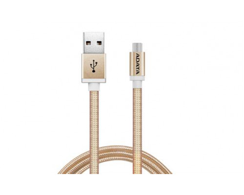 Кабель A-DATA microUSB-USB для зарядки и синхронизации 1м, металлический, Gold