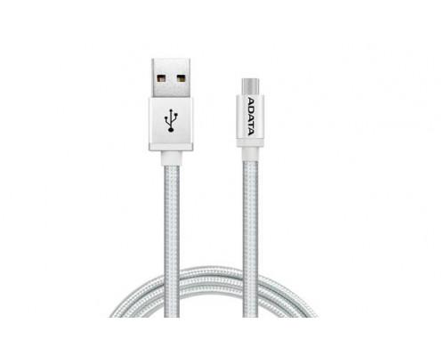 Кабель A-DATA microUSB-USB для зарядки и синхронизации 1м, металлический, Silver