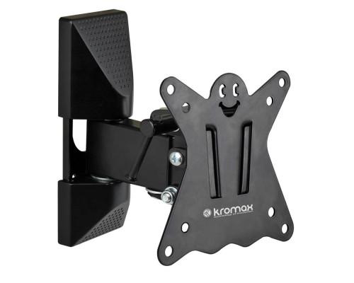 "Кронштейн Kromax CASPER-102 черный для TV 10""-32"", настенный наклонно-поворотный, max VESA 100x100, от стены 55-110мм, наклон +5-15°, поворот 90°, вращение ?5°,  нагрузка до 25 кг"