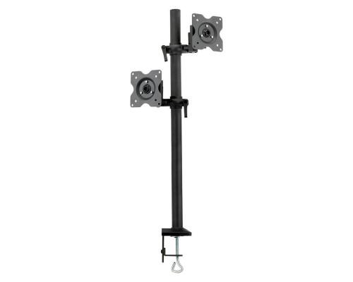 "Кронштейн Kromax OFFICE-5 черный для 2-х мониторов LCD 15""-32"", настольный, VESA 75x75/100x100, высота до 730 мм, наклон ?15°, поворот 360°, вращение экрана 360°, нагрузка до 2x6 кг"