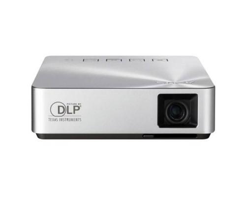 Проектор ASUS S1 (DLP, LED, WVGA 854x480, 200Lm, 1000:1, HDMI, MHL, 1x2W speaker, led 30000hrs, battery, Silver, 0.342kg)