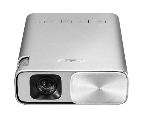 Проектор ASUS ZenBeam E1 (DLP, LED, WVGA 854x480, 150Lm, 800:1, HDMI, MHL, 1x2W speaker, led 30000hrs, battery, Silver, 0.31kg)