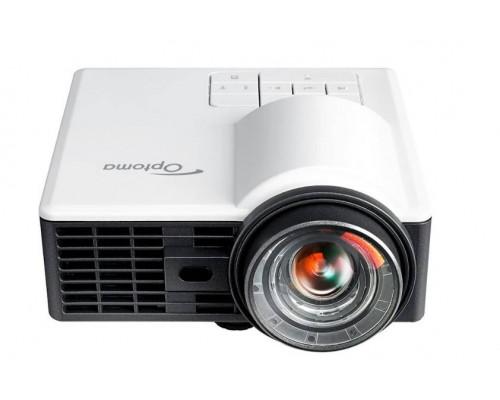 Проектор Optoma ML1050ST+ (DLP, LED, WXGA 1280x800, 1000Lm, 20000:1, HDMI, MHL, USB, MicroSD, Universal I/O, 1x1W speaker, 3D Ready, led 20000hrs, short-throw, White-Black, 0.42kg)
