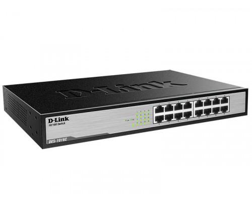 D-Link DES-1016C Неуправляемый коммутатор с 16 портами 10/100Base-TX и функцией энергосбережения