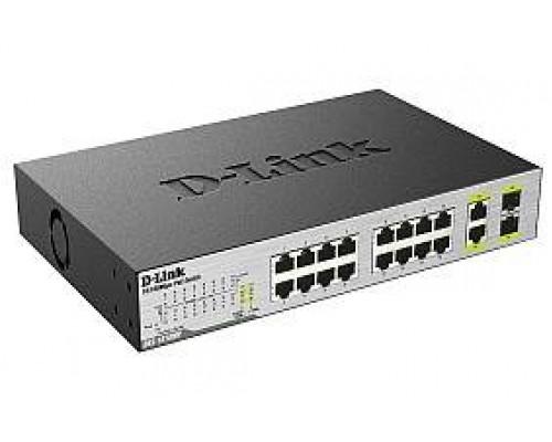 D-Link DES-1018MP Неуправляемый коммутатор с 16 портами 10/100Base-TX, 2 комбо-портами 100/1000Base-T/SFP и функцией энергосбережения (16 портов с поддержкой PoE 802.3af (15,4 Вт), PoE-бюджет 246,4 Вт)