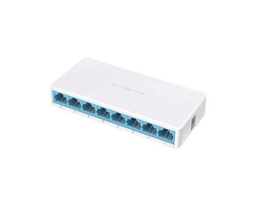Mercusys MS108, 8-портовый 10/100 Мбит/с настольный коммутатор, 8 портов RJ45 10/100 Мбит/с, пластиковый корпус