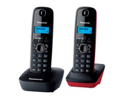 Р/телефон Panasonic KX-TG1612RU3 (серый/красный/черный, 2 трубки)
