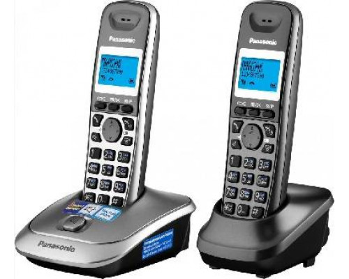Р/телефон Panasonic KX-TG2512RU1 (черный, темно-серый металлик, 2 трубки)