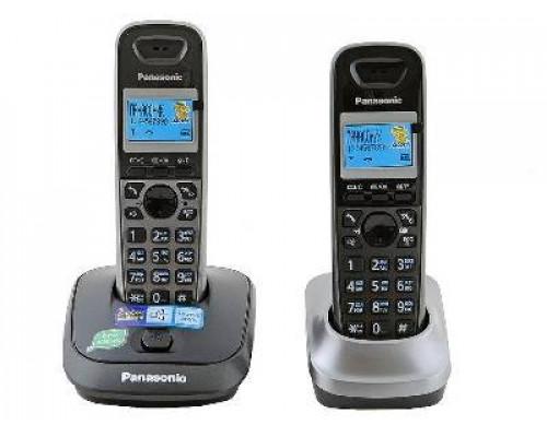 Р/телефон Panasonic KX-TG2512RU2 (темно-серый металлик, черный, 2 трубки)